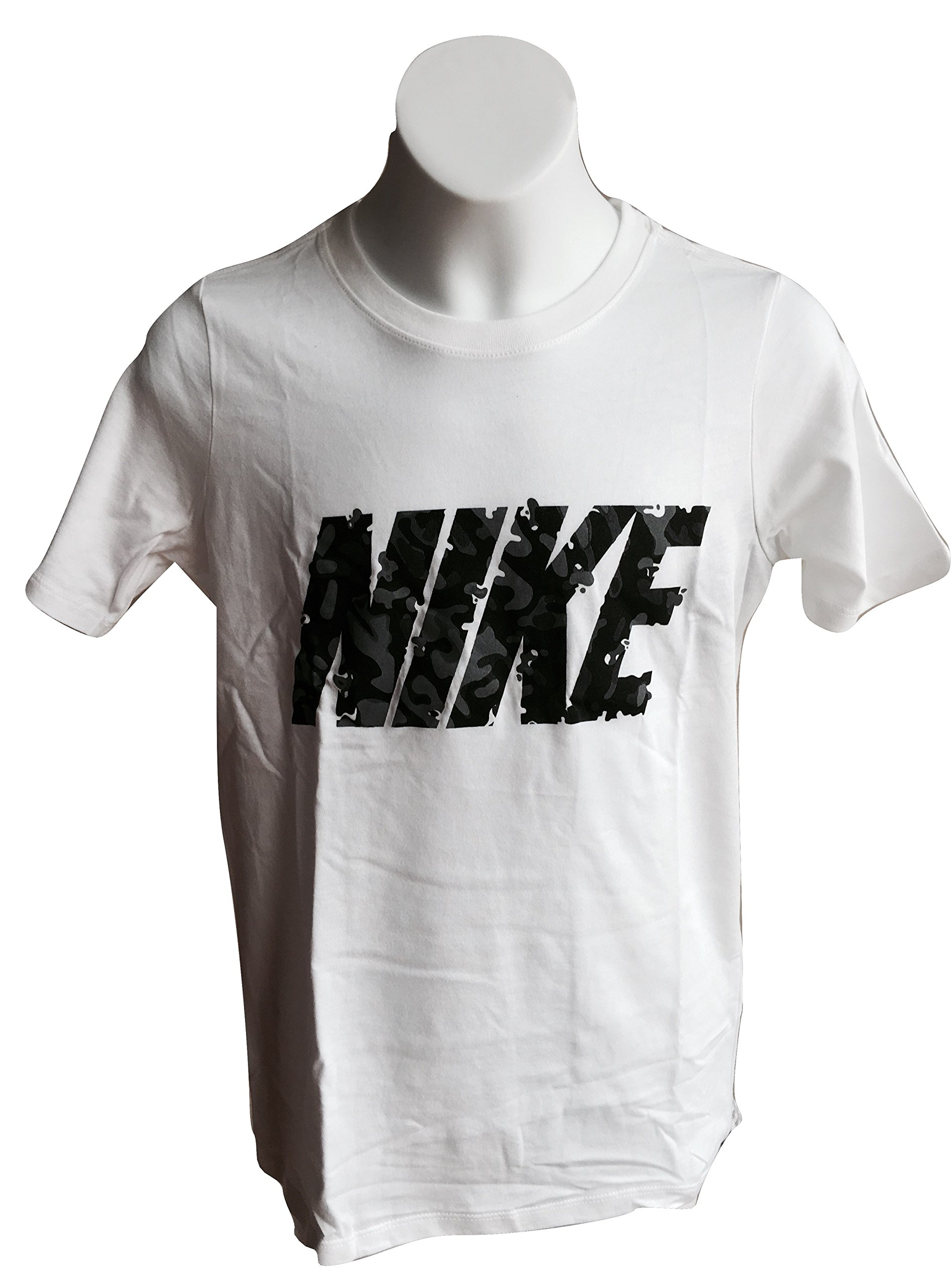 Nike Boy's Graphic Tee Shirt Red Crewneck T-Shirt 902422-100 White