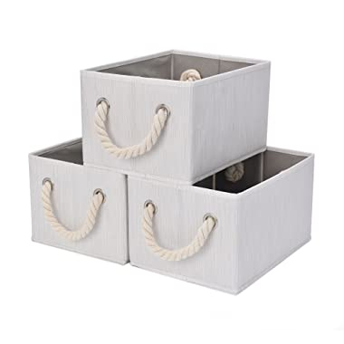 StorageWorks Storage Bins with Cotton Rope Handles, Foldable Storage Basket, White, Bamboo Style, 3-Pack, Medium, 11.4(L) x 8.7(W) x 6.7(H) inches