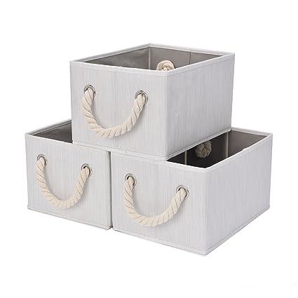 Genial StorageWorks Storage Bins With Cotton Rope Handles, Foldable Storage  Basket, White, Bamboo Style