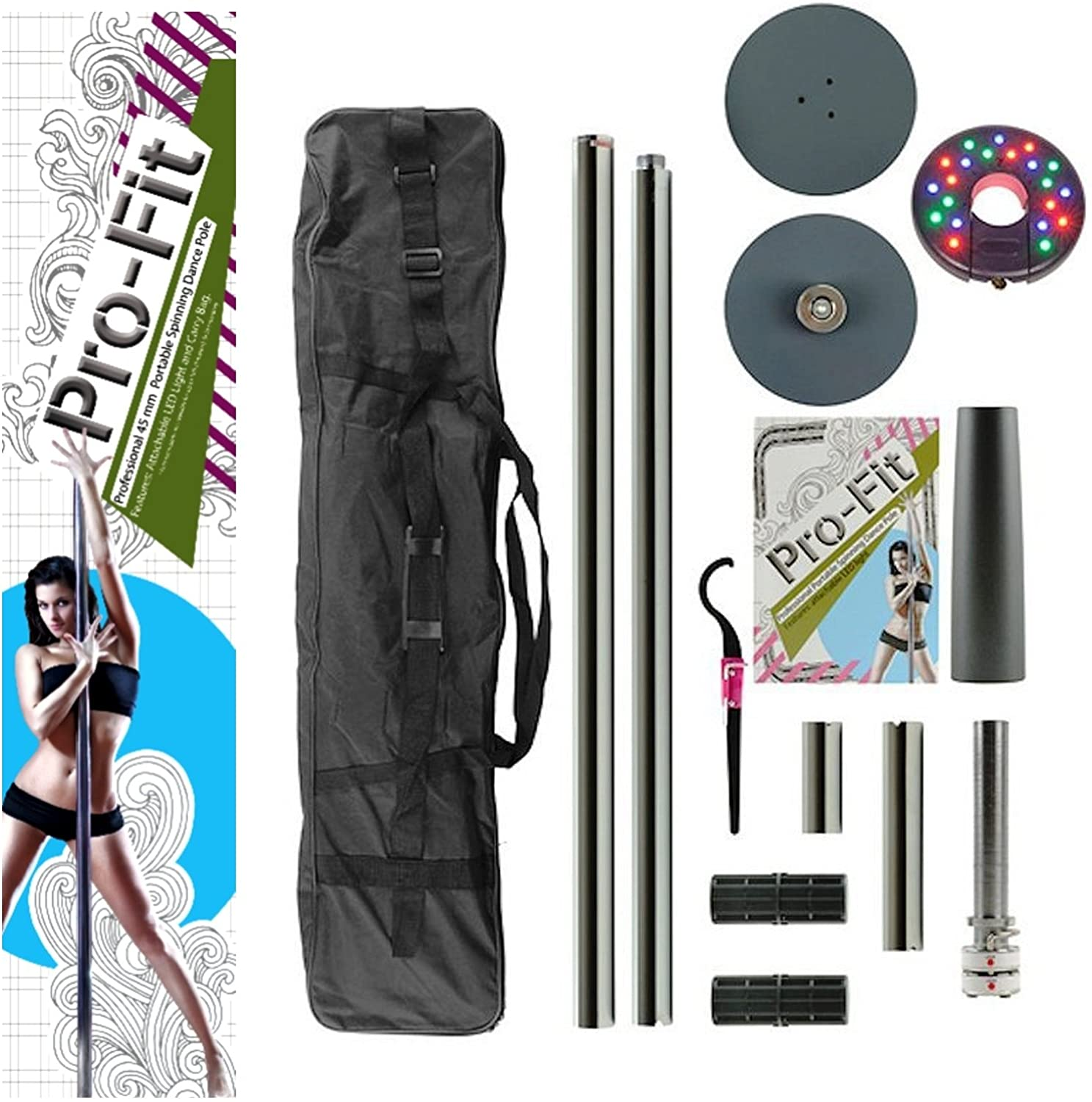 PRO FIT Professional Portable Spinning Dance Pole with Attachable LED Dance Light and Carry Bag