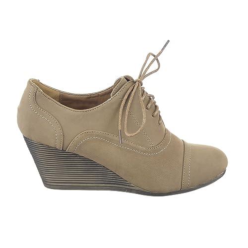 Sopily - Zapatillas de Moda zapato derby Plataforma Low boots Tobillo mujer Talón Plataforma 6.5 CM - Caqui WL-HM-88 T 41 - UK 8: Amazon.es: Zapatos y ...
