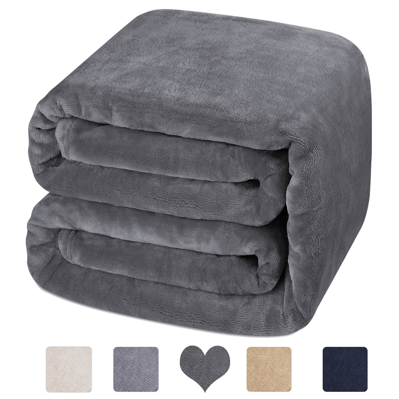 HOMEIDEAS Luxury 380 GSM Fleece Blanket Super Soft Warm Fuzzy Lightweight Bed Couch Blanket (Twin,Camel)