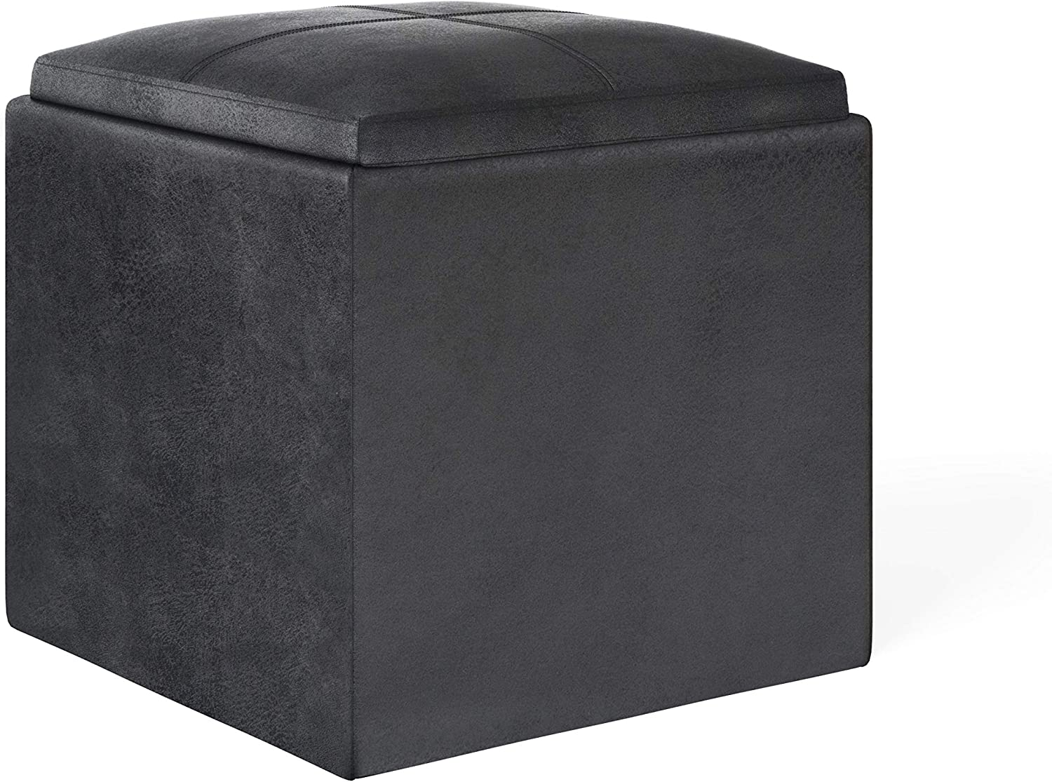 SIMPLIHOME Rockwood 17 inch Wide Contemporary Square Cube Storage Ottoman with Tray in Distressed Black Faux Air Leather