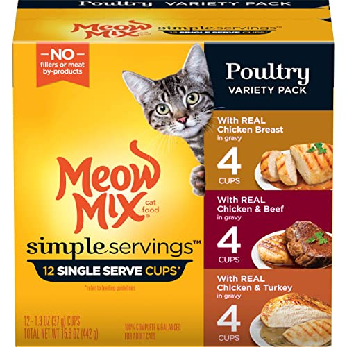 Meow Mix Simple Servings Wet Cat Food, Poultry Variety Pack, 1.3 Ounce Cup Pack of 12