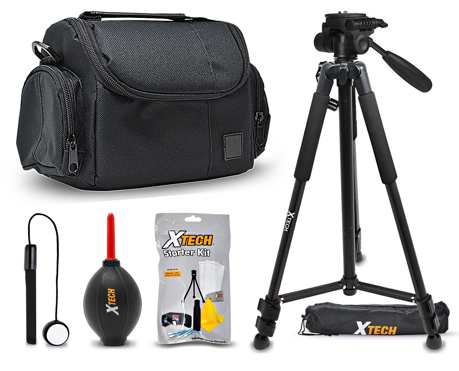 Xtech Premium Camera Case + Pro Series 72' inch Tripod for Sony Alpha A9, A7R II, A7 II, A7 A7R A7S A6500 A6300 A6000 A55 A65 A77 A99 A900 A700 A580 A560 A550 A500 A450 A390 A380, NEX-7 NEX-6 Cameras