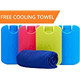 Katabird Ice Packs for Lunch Box and Coolers With FREE Cooling Towel - Keeps Food Cool Longer Than Other Chillers - Durable - Perfect Size - No Leaks - No Smells - Set of 4 Paks - BPA Free