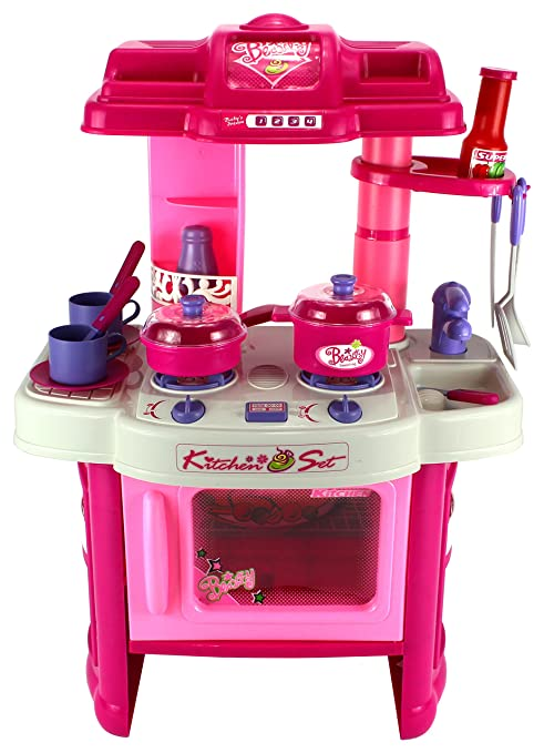 Deluxe Children\'s Kitchen Appliance Cooking Play Set w/ Lights & Sounds,  Perfect for Your Little Chef