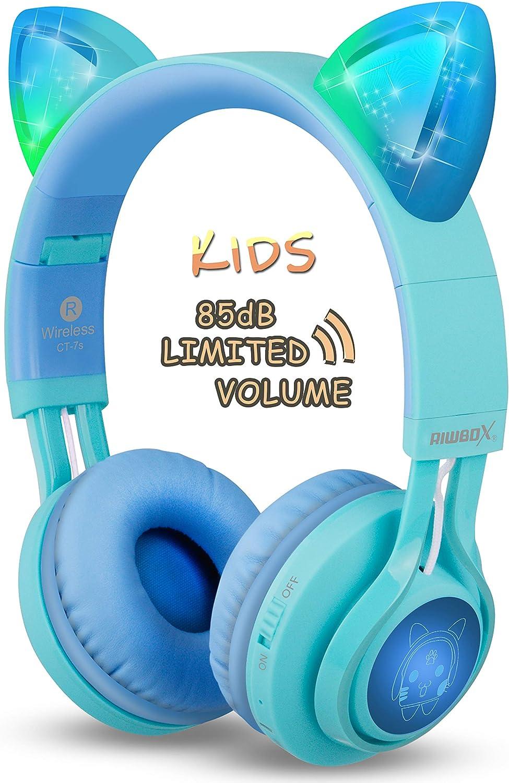 Riwbox CT-TS Auriculares Bluetooth con orejas de gato para niños, limitación de volumen a 85 dB, luz LED, inalámbricos y con micrófono para iPhone/ iPad/ Ordenador portátil/ Pc/ Televisión Azul verde