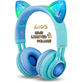 Kids Headphones, Riwbox CT-7S Cat Ear Bluetooth Headphones Volume Limiting 85dB,LED Light Up Kids Wireless Headphones Over Ear with Microphone for iPhone/iPad/Kindle/Laptop/PC/TV (Blue&Green)