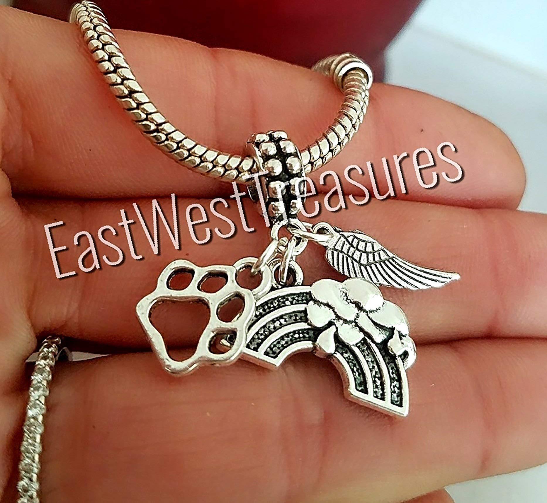 EWT Rainbow Bridge, pet dog cat memorial loss, paw angel wings charm pendant - FITS ALL DIY Bracelet necklaces