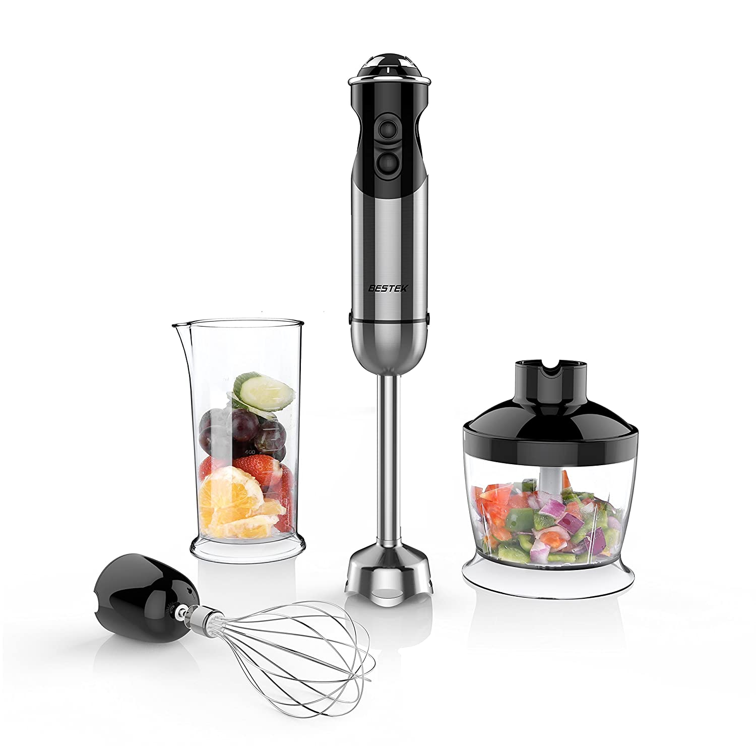 BESTEK Imersion Blender 350W 5 Speed 4-in-1 Hand Blender Smart Stick with Food Processor, Whisk, Beaker and 2 Stainless Steel Blades for Smoothies Baby Food Yogurt Sauces Soups
