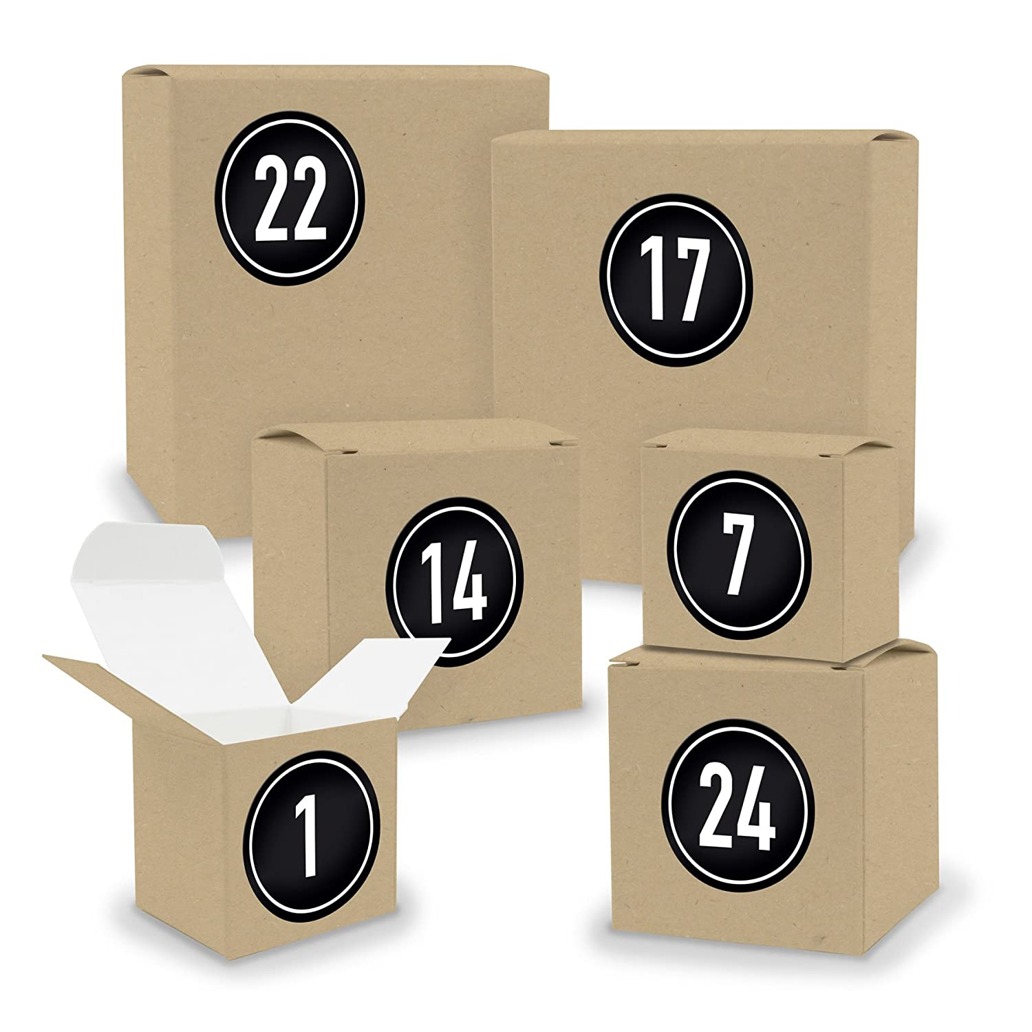 DIY Itenga advent calendar set v02 to fill 24 boxes square cube mixed brown kraft carton and number stickers Motiv Z01 Blautöne Stempeldesign