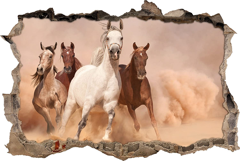 Mandria di cavalli nella parete svolta deserto in aspetto 3D, parete o in formato adesivo porta: 62x42cm, autoadesivi della parete, autoadesivo della parete, decorazione della parete Stil.Zeit