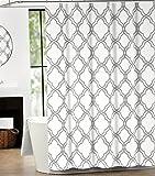 Max Studio Home Cotton Shower Curtain Moroccan Tile Quatrefoil Gray and White Lattice