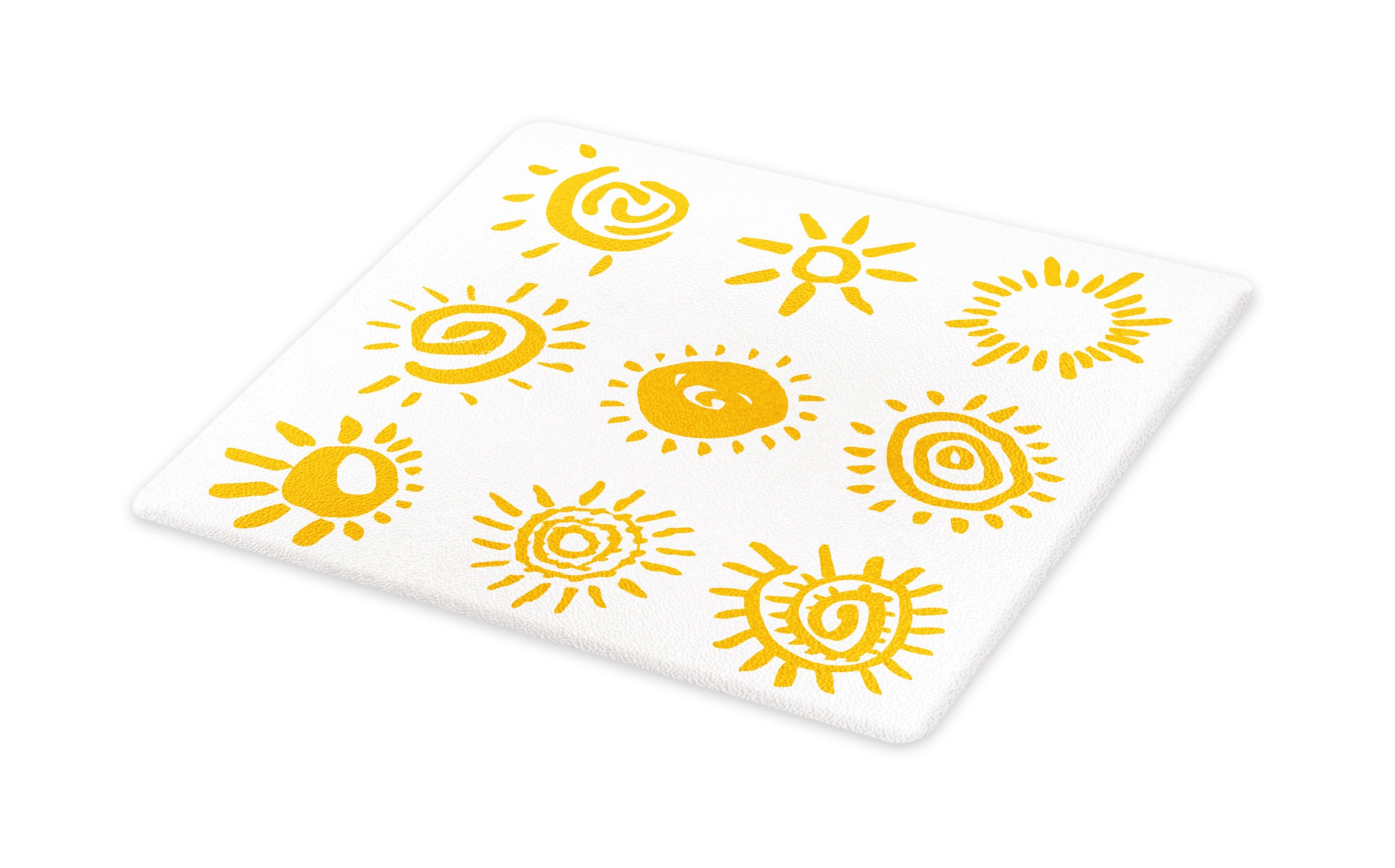 Lunarable Doodle Cutting Board, Cartoon Sun Designs Swirls Lines Abstract Illustration Center of Solar System, Decorative Tempered Glass Cutting and Serving Board, Large Size, Marigold White