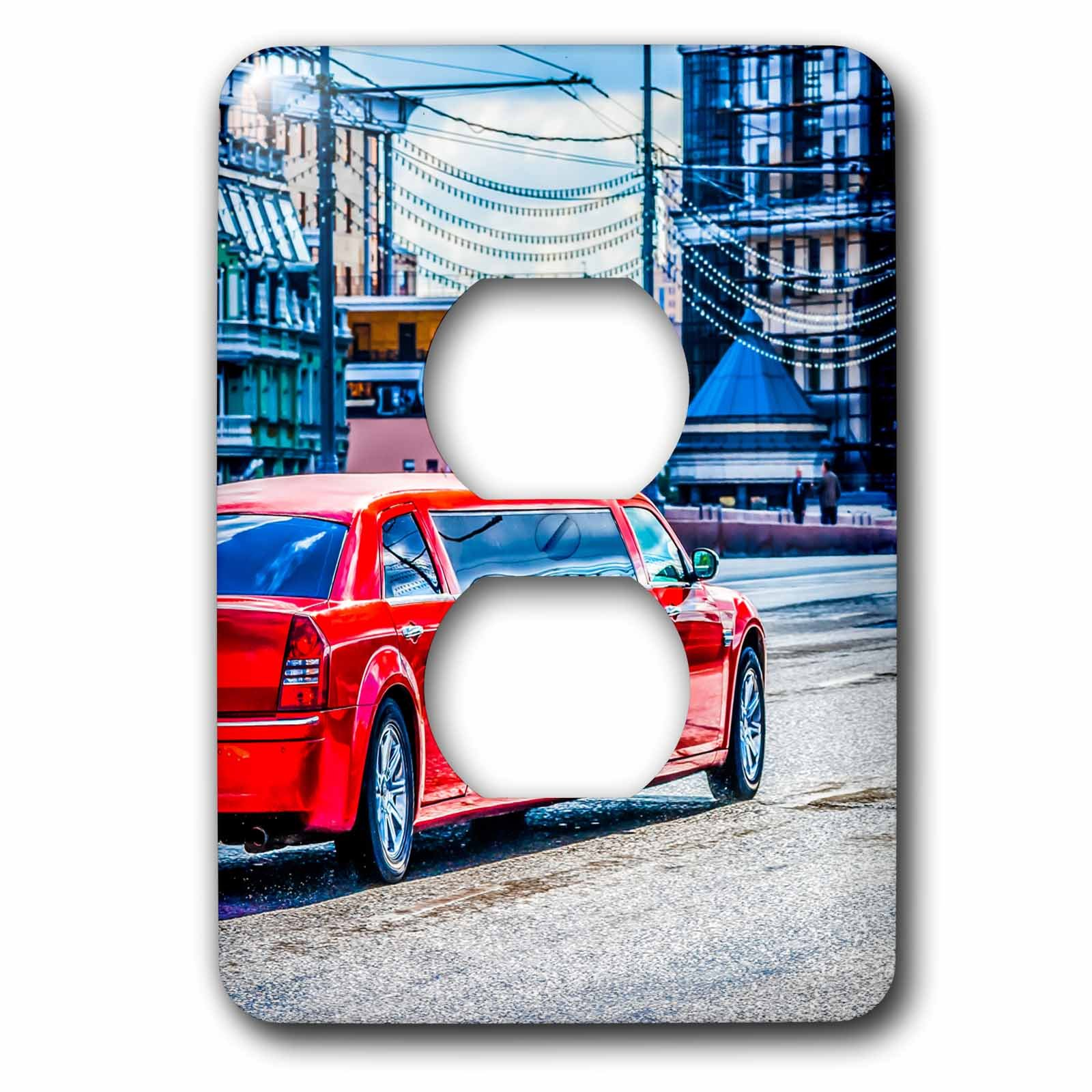 3dRose Alexis Photography - Transport Road - Luxury red limousine car drives along the street - Light Switch Covers - 2 plug outlet cover (lsp_271309_6) by 3dRose (Image #1)