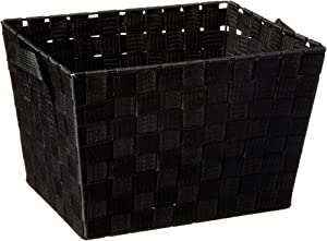Home Basics Multi-Purpose Medium Woven Strap Open Bin Basket with Handles, Black