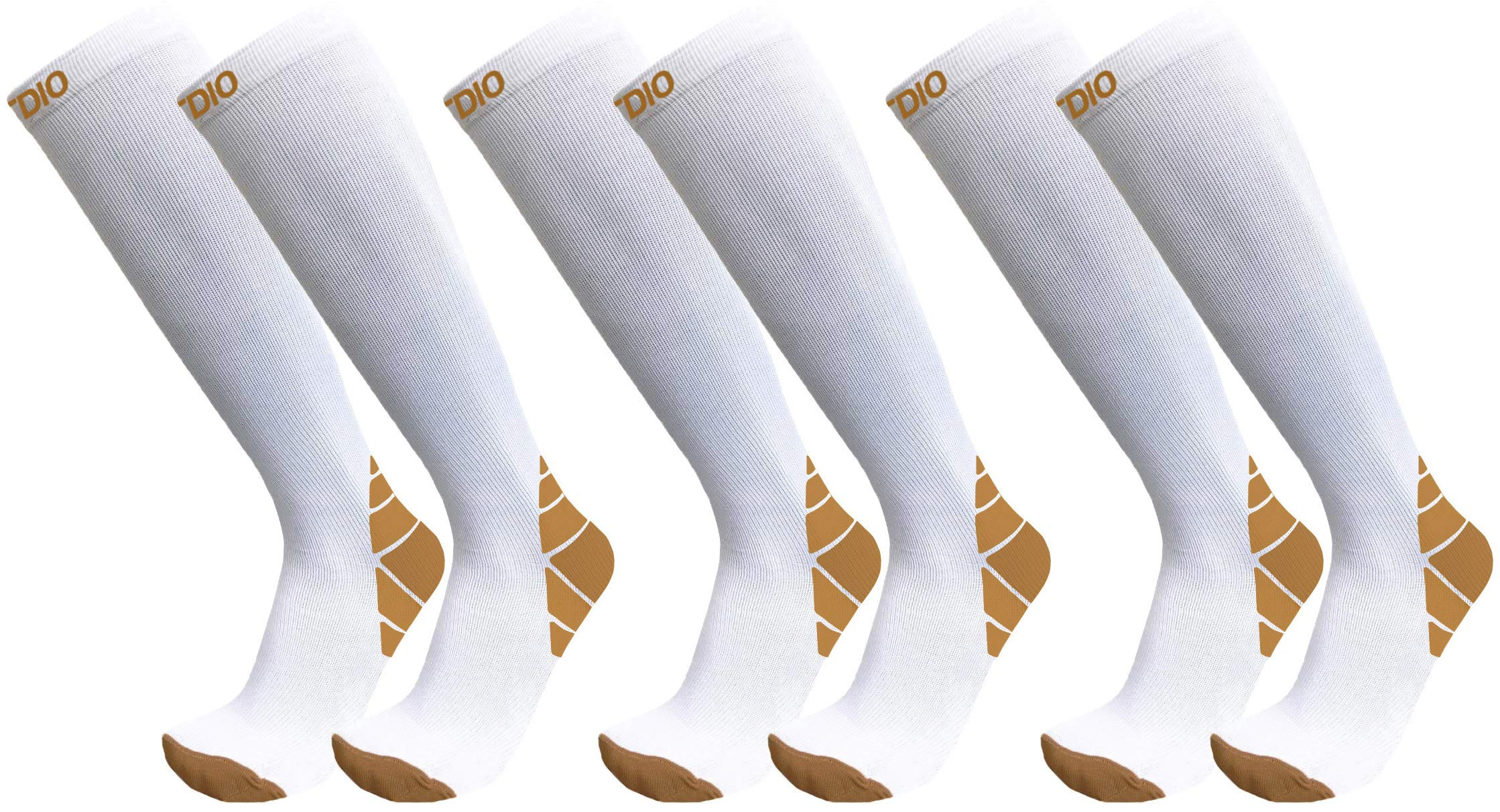 Plus Size Wide Calf 3-Pairs Halcyon Knee High Graduated 20-30mmHG Compression Socks for Men & Women (6XL/7XL, White)