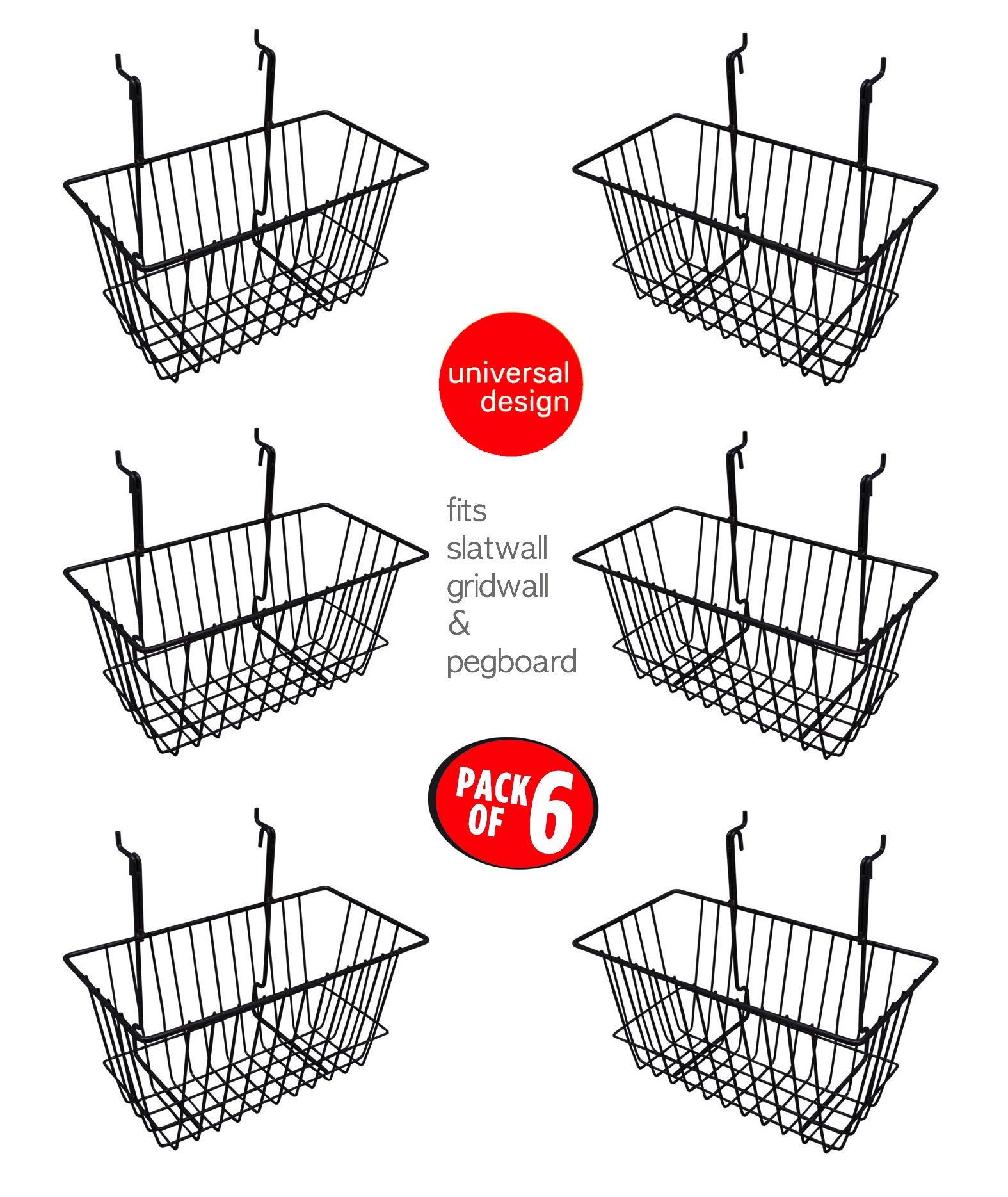 Only Hangers Small Wire Storage Baskets for Gridwall, Slatwall and Pegboard - Black Finish - Dimensions: 12'' x 6'' x 6'' Deep - Economically Sold in a Set of 6 Baskets by Only Hangers (Image #1)