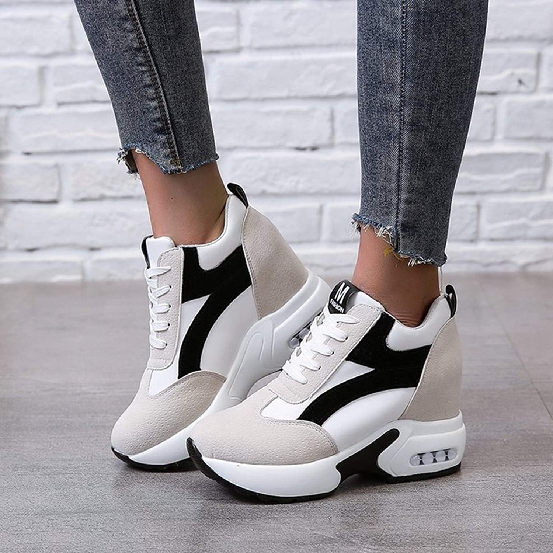 Zapatillas de cu/ña Ocultas para Mujer Zapatillas de Deporte con Cordones de Plataforma Transpirable Zapatos Casuales Deportivos Antideslizantes c/ómodos para Mujer