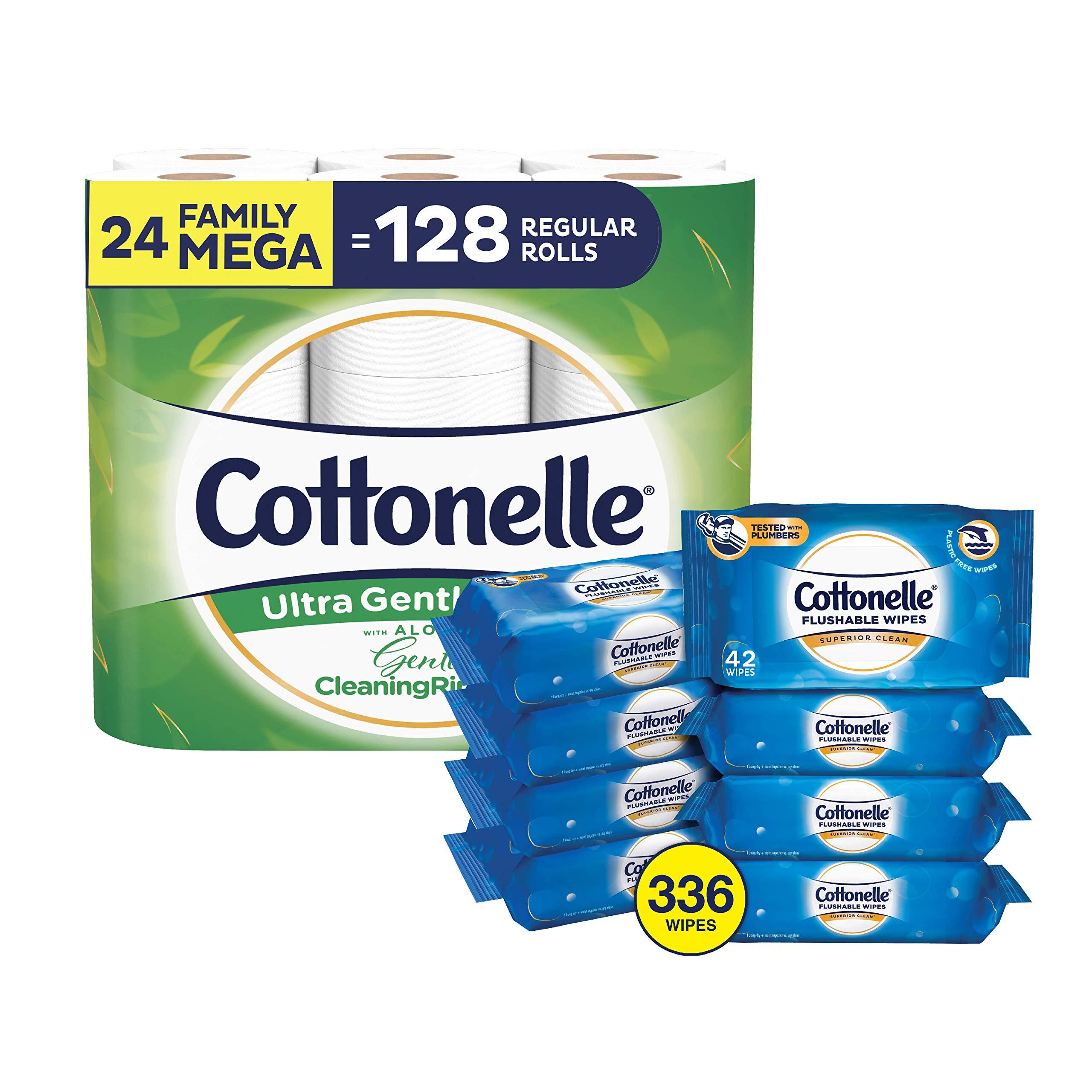 Cottonelle Toilet Paper Bundle - Cottonelle Ultra GentleCare Toilet Paper, 24 Mega Rolls and Cottonelle FreshCare Flushable Wipes, 8 Packs, 42 Wipes Per Pack (336 Wipes Total)