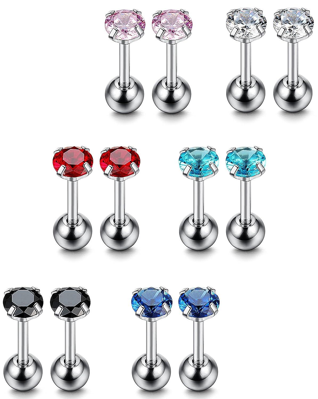 Thunaraz 8-12PCS 18G Stainless Steel Cubic Zirconia Tragus Earrings for Women Helix Earring Stud Body Jewelry Piercing Set
