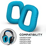 Brainwavz Upgraded Earpads for Logitech G35 G930 G430 F450 Headphones - Made with Premium Vegan Leather, Genuine Memory Foam, Improves Comfort, Sound Isolation Ear Pads (Turquoise)