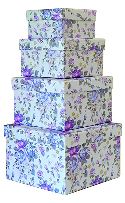 Cypress Lane Square Gift Boxes, a Nested Set of 4, 4x4x2 to 6.5x6.5x4.5 inches (White)
