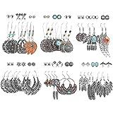 Hanpabum 36Pairs Vintage Dangle Earrings Bohemian Earrings Set for Women Silver Drop Earrings Ethnic Style