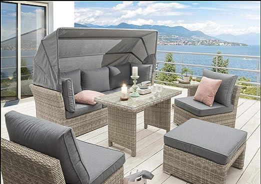 Destiny - Conjunto de muebles de jardín Aruba con techo plegable de polirratán: Amazon.es: Hogar