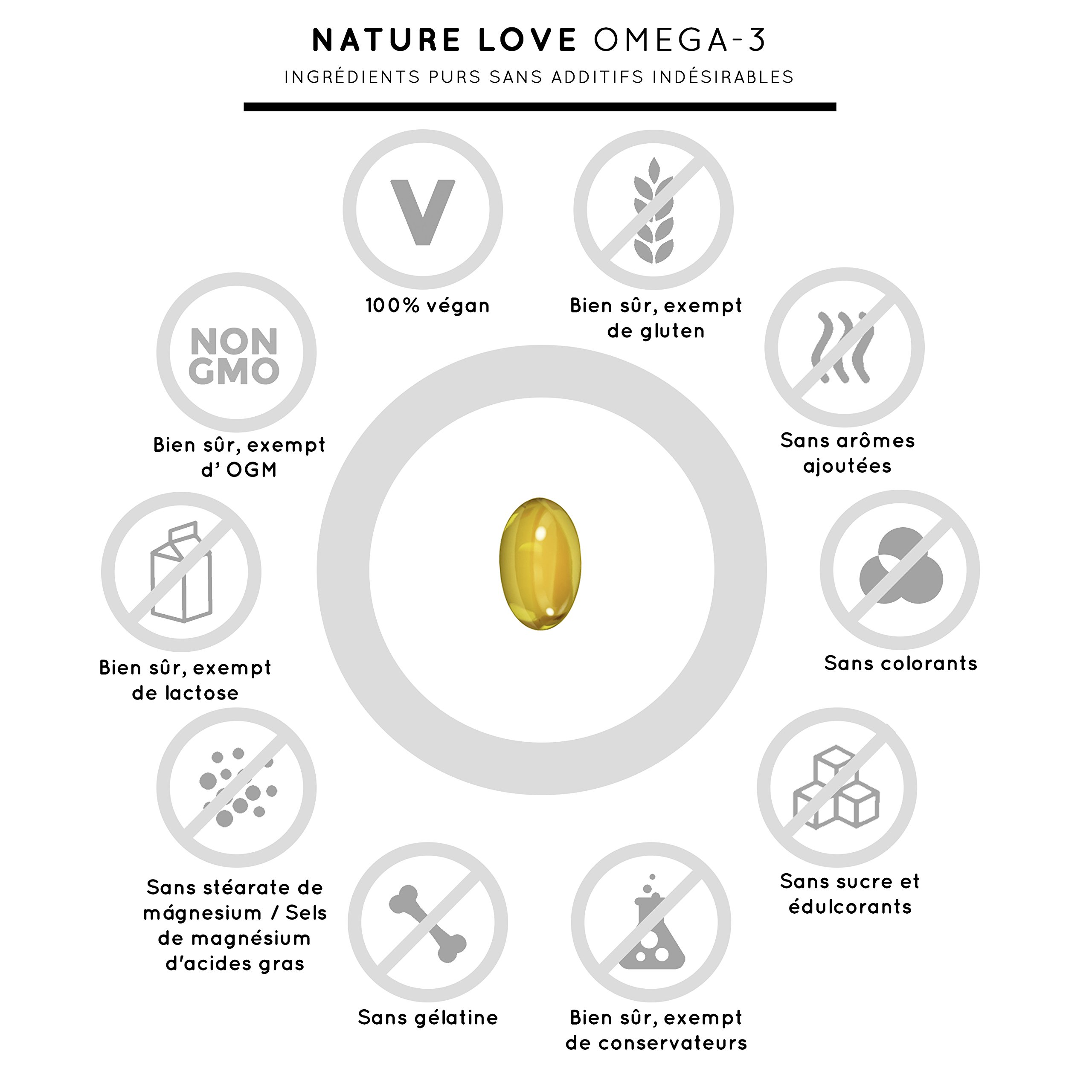 Capsules d\'huile d\'algues Omega 3 vegan - Qualité supérieure : végétales à base d\'huile d\'algues. 120 petites Oméga 3 gélules, faciles à avaler. Contient des acides gras EPA & DHA. Complément alimentaire de Nature Love