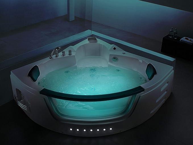Bañera de hidromasaje - SPA - Iluminación LED - Blanco - MARTINICA ...