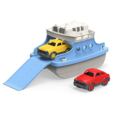 Green Toys Ferry Boat with Mini Cars Bathtub Toy, Blue/White: Toys & Games