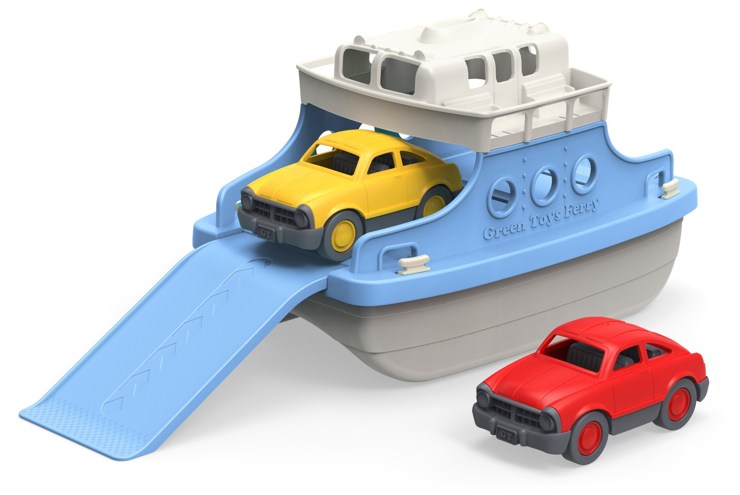 Green Toys Ferry Boat with Mini Cars Bathtub Toy, Blue/White, Standard