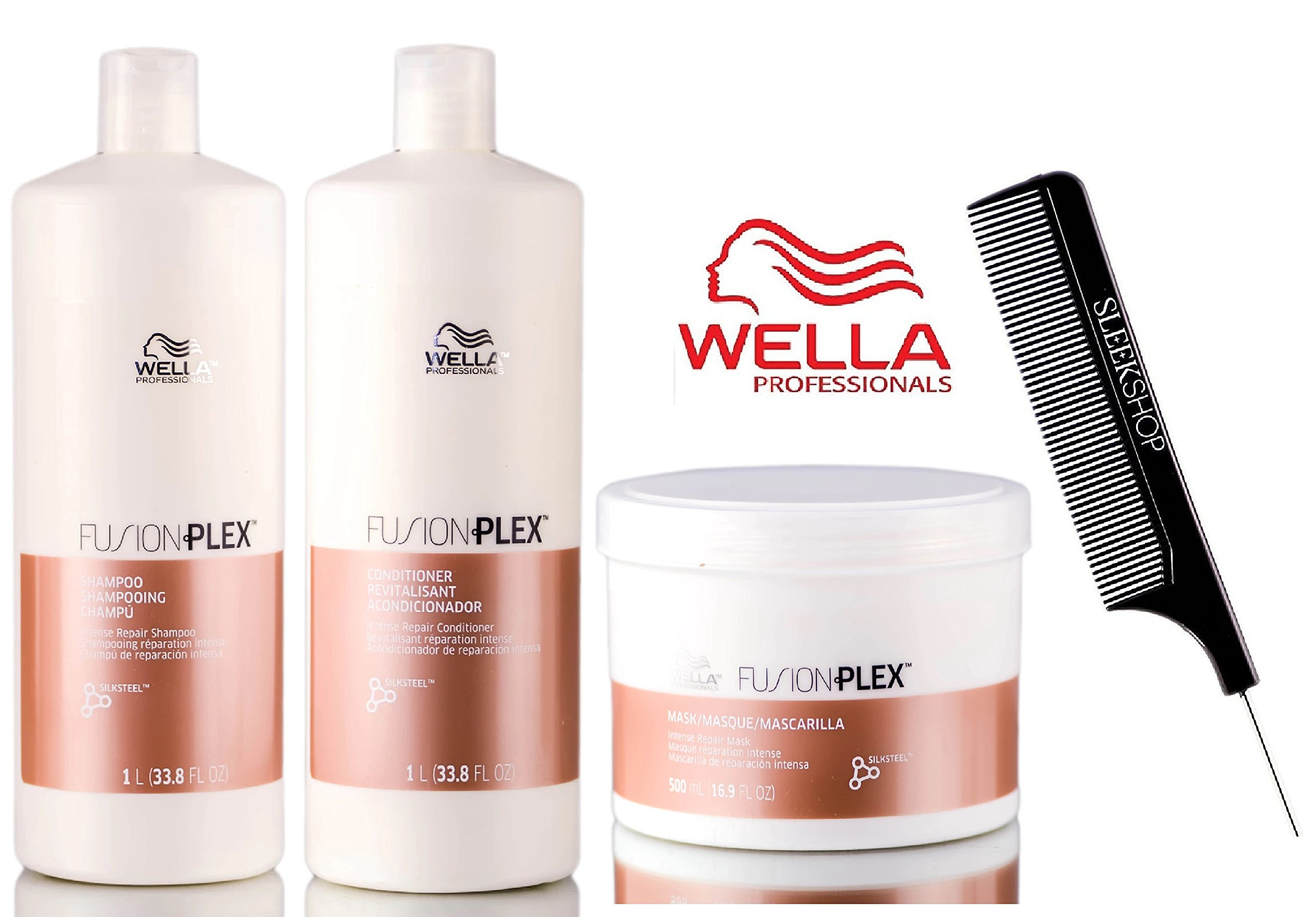 Wella FUSION PLEX Intense Repair Shampoo, Conditioner & Mask TRIO SET (with Sleek Steel Pin Tail Comb) (33.8 oz + 16.9 oz - LARGE TRIO Kit) by FusionPlex by Wella (Image #1)