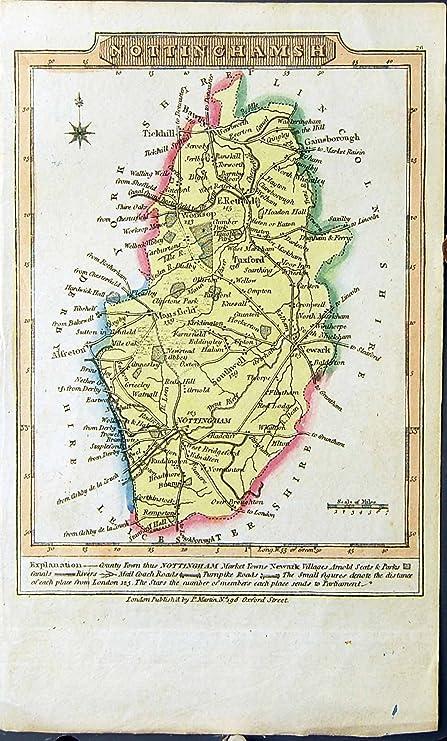 Old Original Antique Victorian Print Colour Map Nottinghamshire