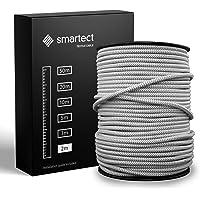 smartect Textilkabel för Lampor Gråvit - 2 Meter Tvinnad trasa täckt Tråd - 3 Prong (3 x 0.75mm²) Trasa Elektrisk Sladd…