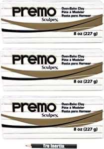 Premo Sculpey Polymer White Clay - Oven-Baked Clay 8 Ounce Pack of 3 with Tru Inertia Pencil
