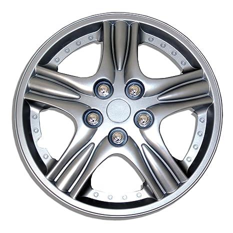 tuningpros wsc-510s15 Tapacubos rueda Skin Cover 15-inches plata conjunto de 4