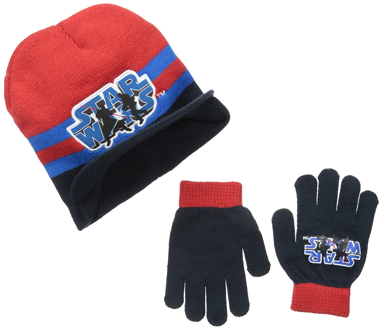 Berkshire Big Boys' Star Wars Light Saber Brimmed Beanie and Glove Set Multi One Size
