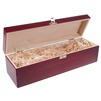 SearchBox MAHOGANY WOOD WINE BOX HOLDER CASE WITH HINGES PRE FILLED WITH WOOD WOOL HANDCRAFTED 3 BOTTLES SPACES