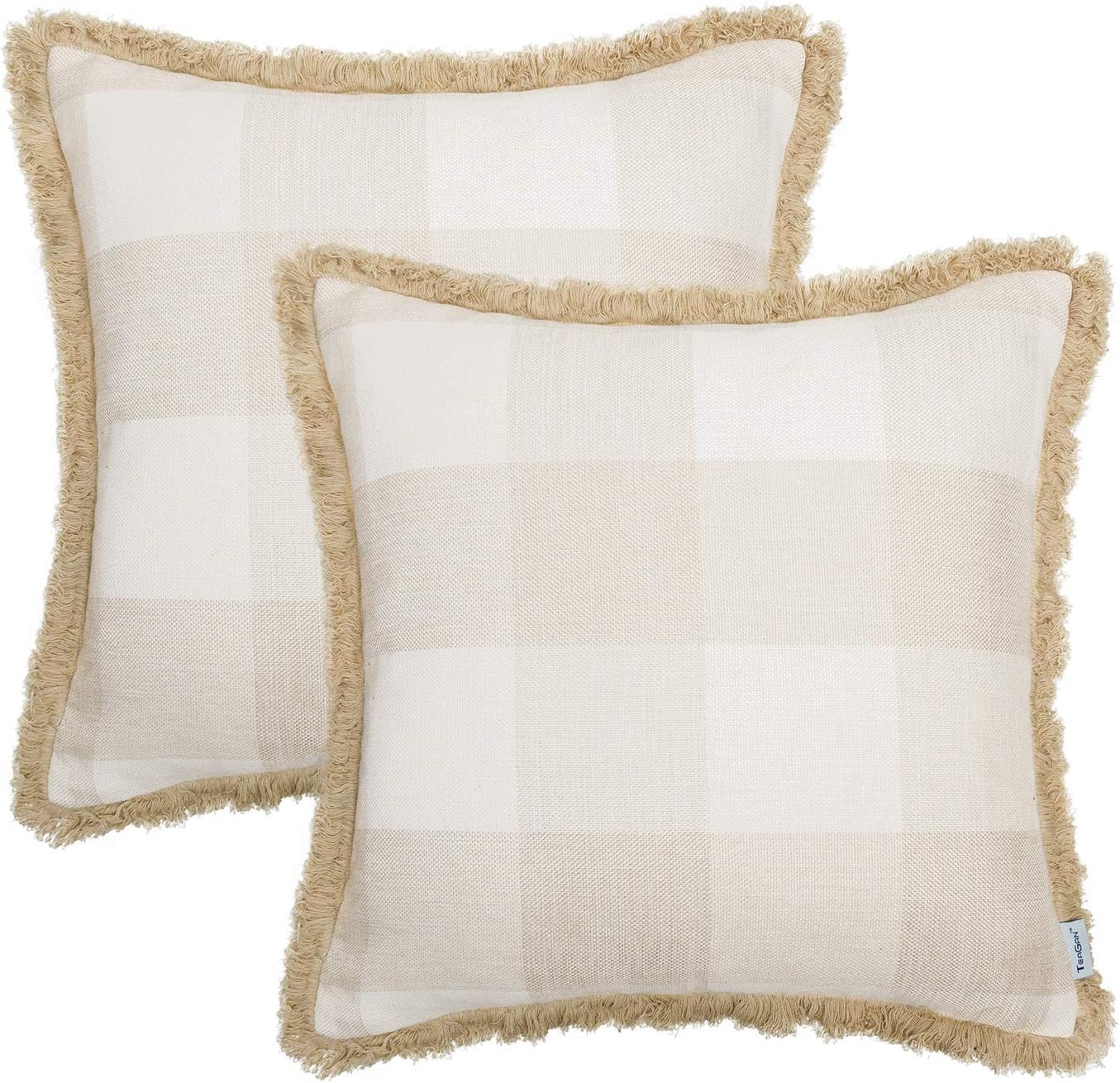 TEAGAN Buffalo Check Plaid Throw Pillow Covers, Farmhouse Decorative Pillow Covers with Cotton Linen Line Edge Decor for Home Bedroom, Living Room, Home Garden Couch Bed Sofa Chair, Cream & White
