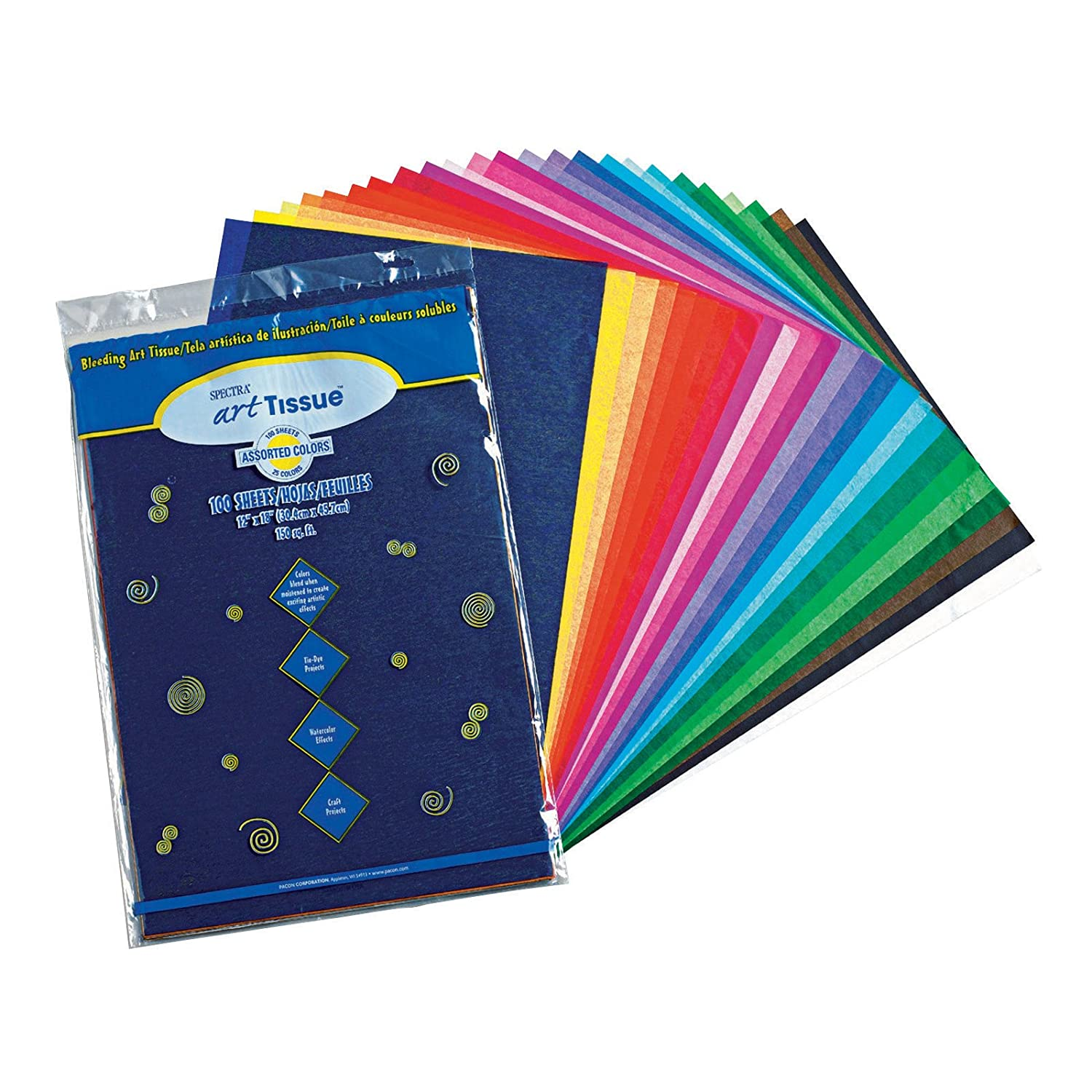Pacon Spectra(R) Assorted Color Tissue Pack, 12
