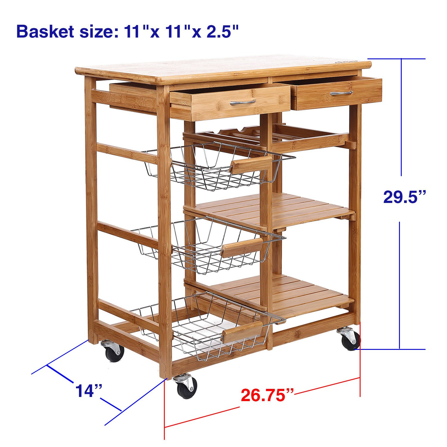 Amazon Clevr Rolling Bamboo Kitchen Cart Island Trolley