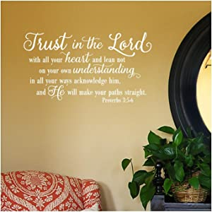 """Trust in the Lord With All Your Heart..Proverbs 3:5-6 Vinyl Lettering Wall Decal Sticker (12.5""""H x 22""""L, White)"""
