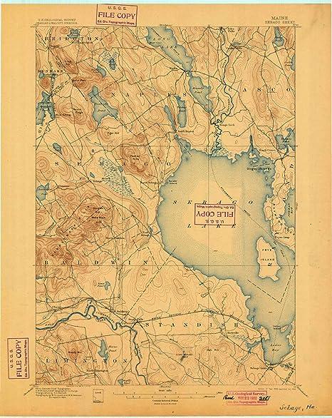 1896 Topo Map of Sebago Lake Maine