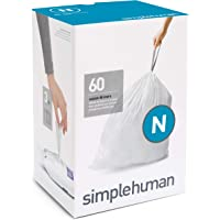 simplehuman Code N Custom Fit Liners, Extra Strong Trash Bags, 45-50 Liter, White, 3 Refill Packs (60 Count)