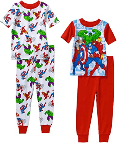 Marvel Avengers Little Boys 4 PC Short Sleeve Cotton Tight Fit Pajama Set 5T