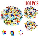 Csdtylh 1000 Pieces Mixed Color Mosaic Tiles Mosaic Glass Pieces Home Decoration DIY Crafts, Square (Mixed Shape) (Tamaño: Mixed Shape)