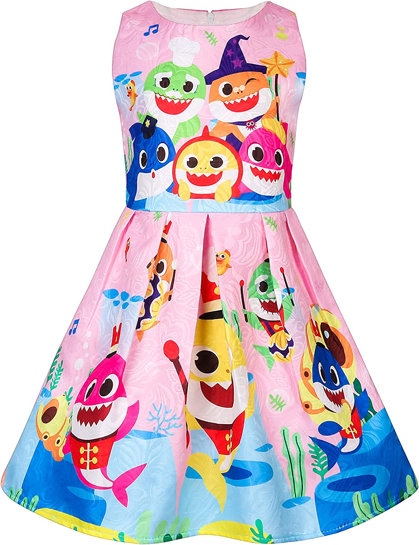 KIDHF Toddler Girls Baby Princess Dress up Shark Cartoon Print Party Dress